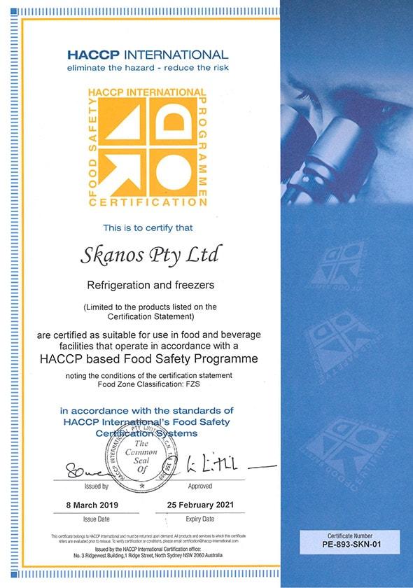 Skanos HACCP certification